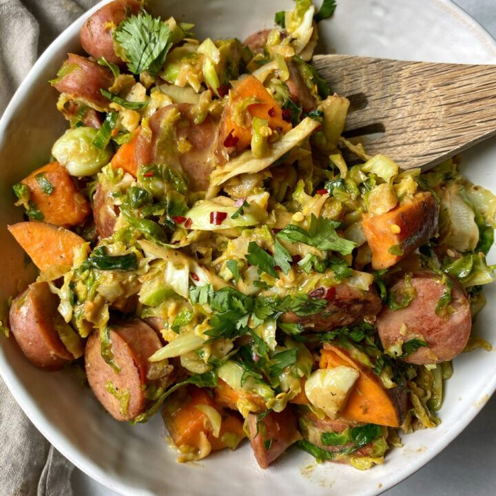 Honey Mustard Sweet Potato and Chicken Sausage One Pan Meal