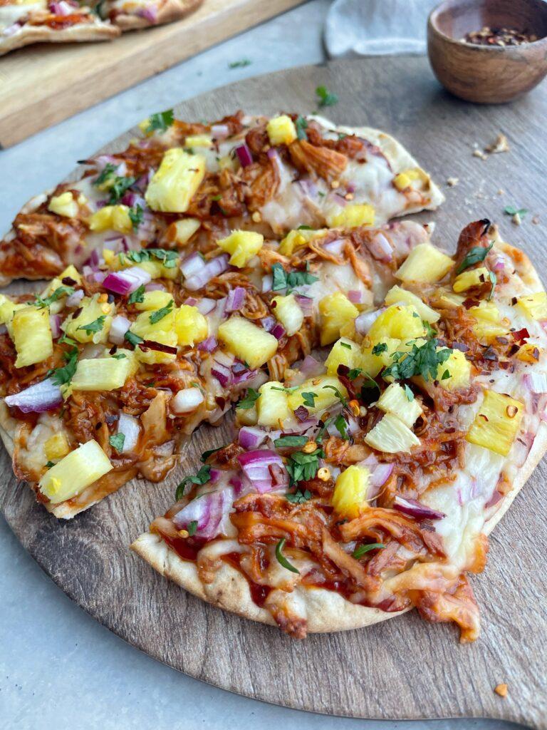 BBQ Chicken Pineapple Naan Pizza