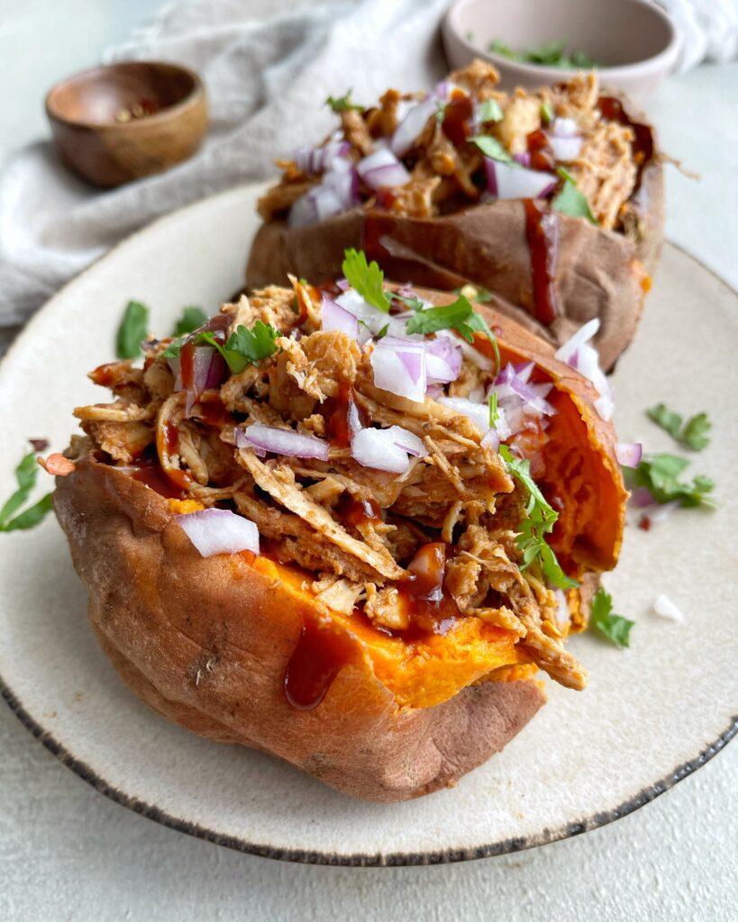 Stuffed Sweet Potato with BBQ Chicken