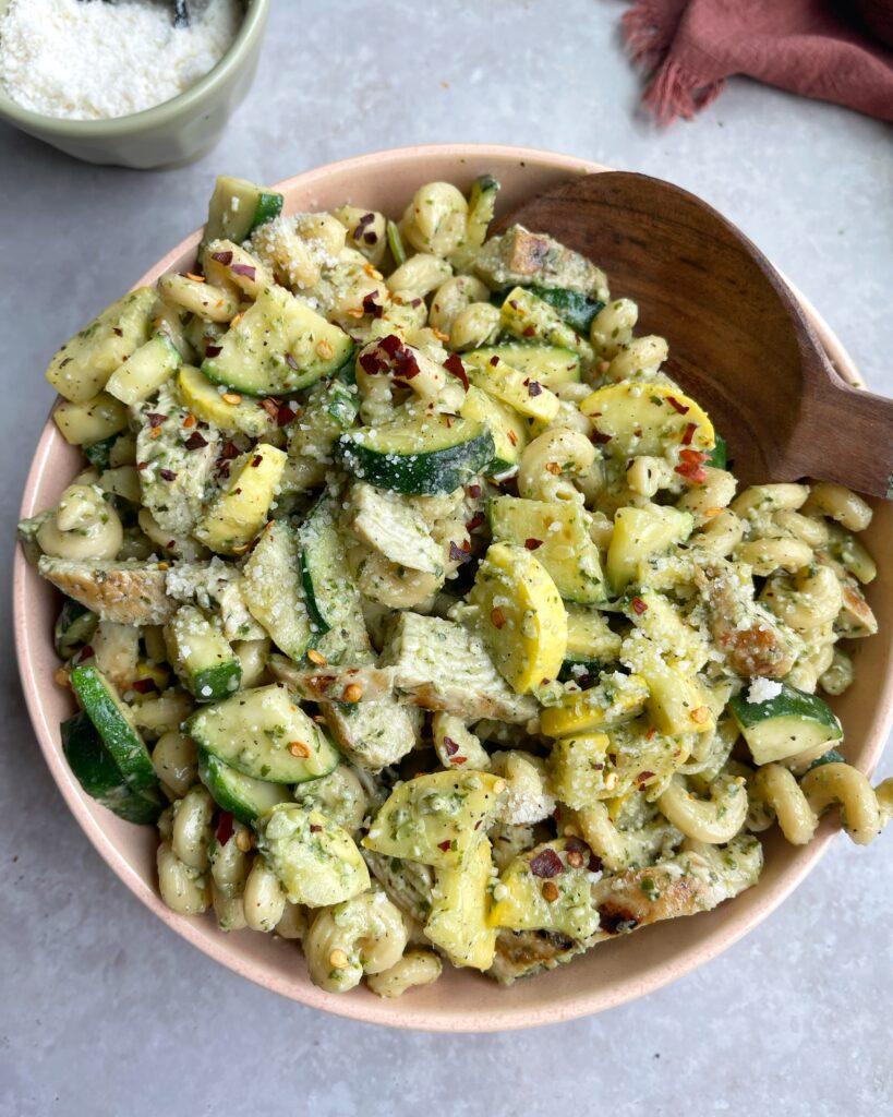 Grilled Chicken Pesto Pasta Bowl