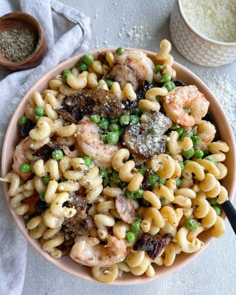 Shrimp and Mushroom Pasta Bowl