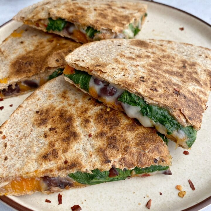 Sweet Potato Black Bean and Spinach Quesadilla