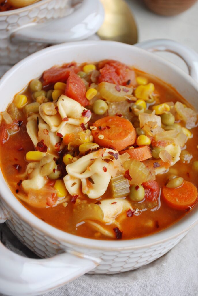 Bowl of Veggie Tortellini Soup
