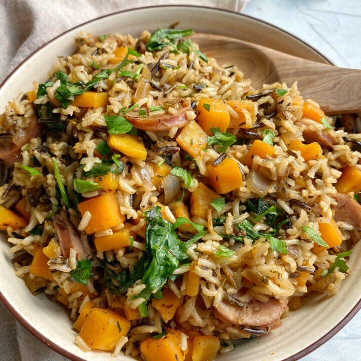 Chicken Sausage and Butternut Wild Rice One Pan
