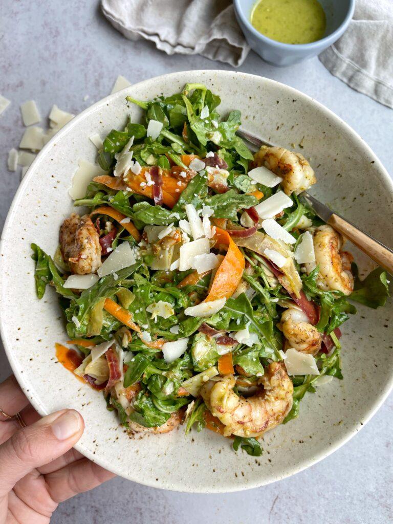 Lemon Arugula Shrimp Salad Bowl