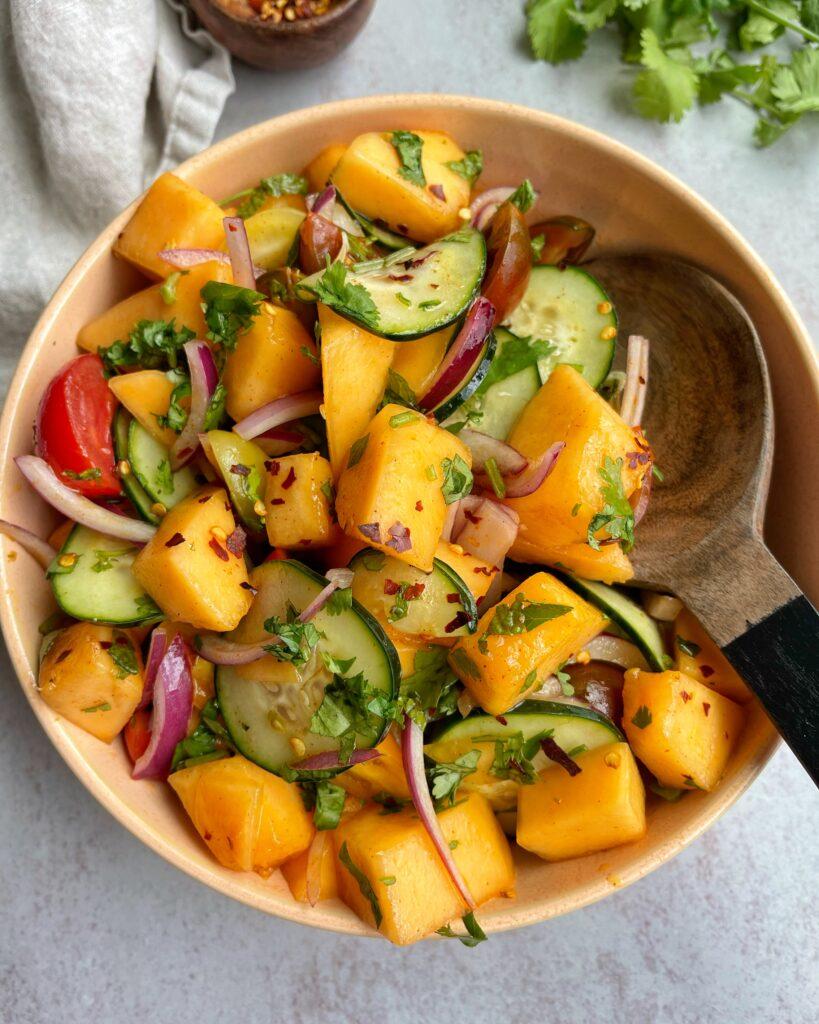 Cantaloupe Cucumber Salad Bowl