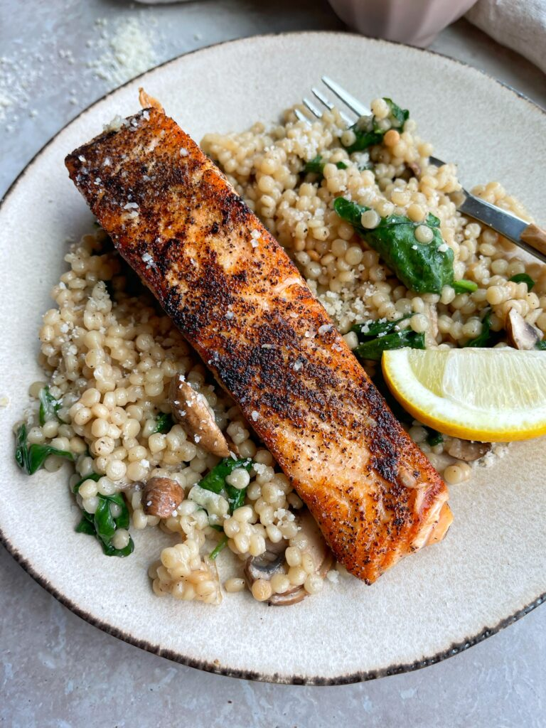 Garlic Butter and Mushroom Couscous with Salmon