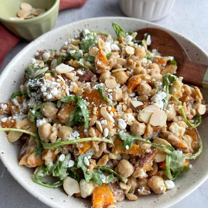 Sweet Potato Chickpea Salad with Maple Tahini Dressing